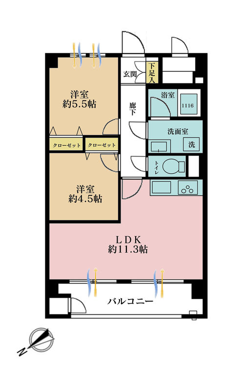2LDK、価格3799万円、専有面積49.5m2、バルコニー面積6.9m2