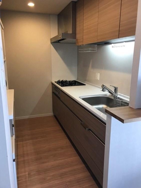 食器洗い乾燥機付、浄水器付のシステムキッチン。独立型キッチンでなのでお客様に見られたくない方にはいいですね。