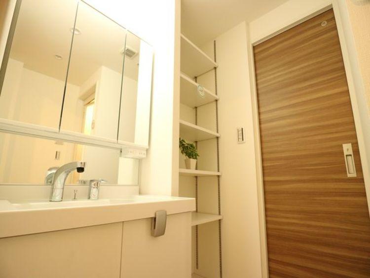 石鹸や洗顔剤、シャンプー、歯ブラシ、歯磨きなどを収納できる三面鏡のシャンプードレッサー。様々な用品を仮置きできる場所も確保されています。