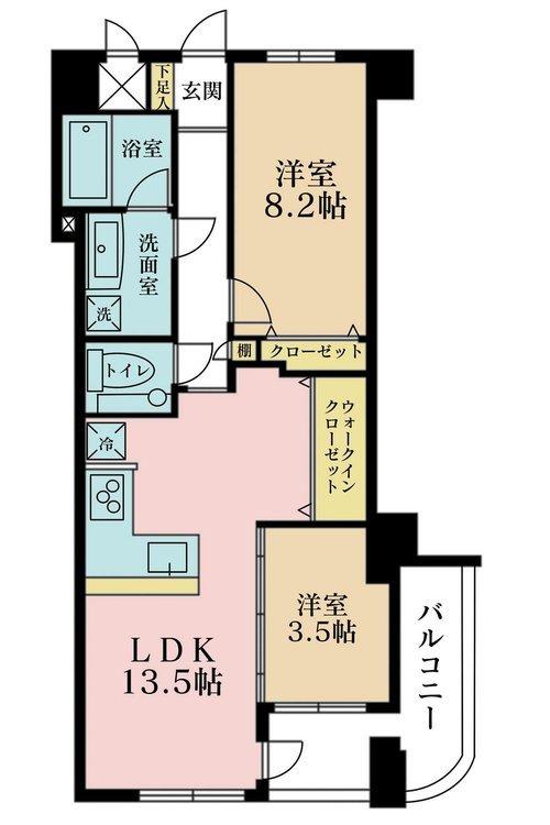 2LDK、価格6999万円、専有面積59.45m2、バルコニー面積7.42m2