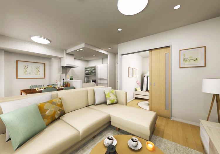 LDと隣接する洋室3に引き戸を採用し、ライフスタイルや家族構成に合わせて、柔軟な空間使いが可能です