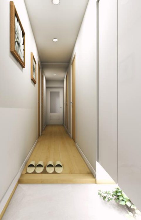 フロート仕様の間接照明が幻想的な雰囲気を作り出す、明るく清潔感のある玄関空間です