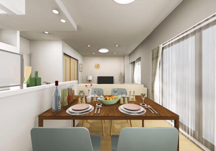ワイドスパンのLDはキッチンからも見渡せる開放的な設計で、家族の会話も自然と弾みます