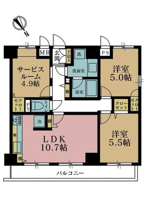 2LDK+S(納戸)、価格5880万円、専有面積61.42m2、バルコニー面積8m2