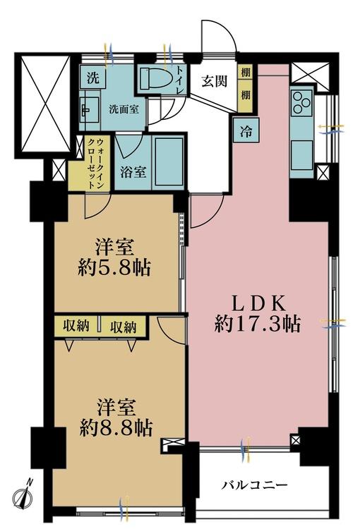 2LDK、価格5480万円、専有面積73.33m2、バルコニー面積4.3m2