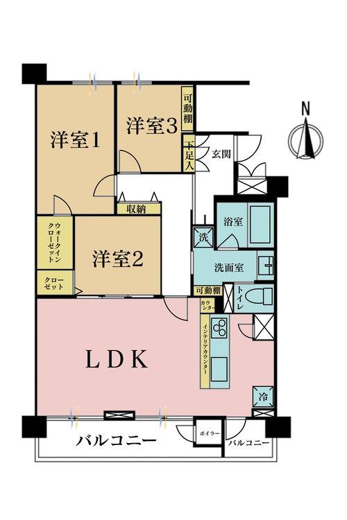3LDK、価格5990万円、専有面積80.45m2、バルコニー面積11.4m2
