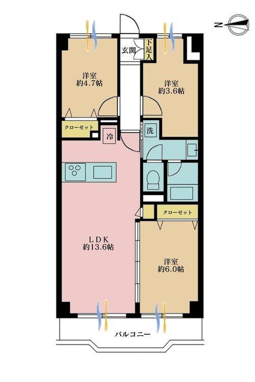 3LDK、価格3690万円、専有面積61.6m2、バルコニー面積6.47m2