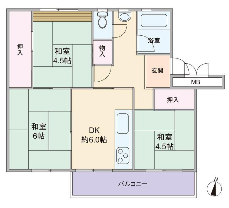 専有面積49.00平米、3DKのプランです。13棟は目の前に別棟がないため、眺め良好の棟になっております。リフォームのご相談等お気軽にご用命くださいませ。