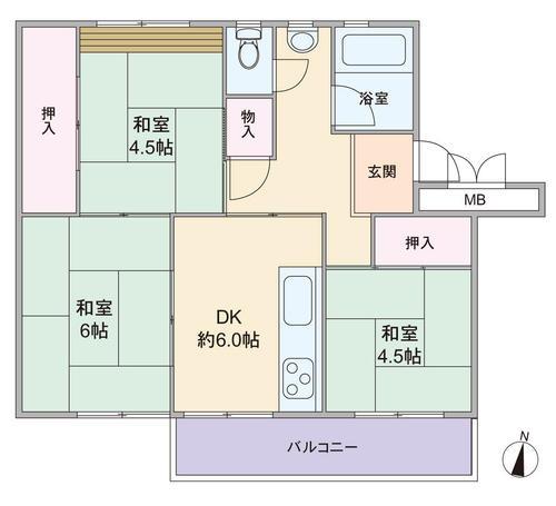 箕面粟生第2住宅13棟の間取り