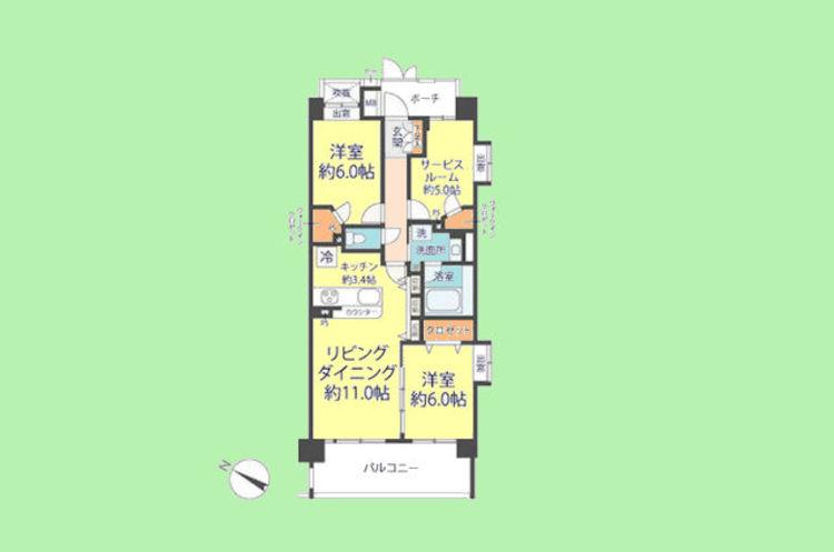 2SLDK 専有面積70.80平米 バルコニー面積11.80平米