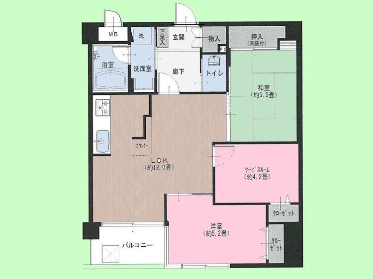 2SLDK 専有面積60.82平米、バルコニー面積4.05平米