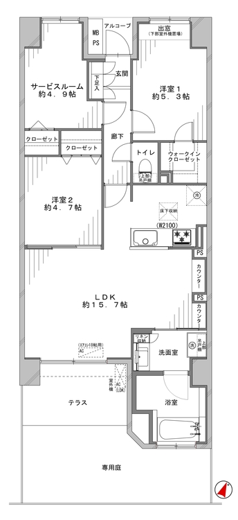 アウトフレーム工法で、お部屋を広々活用できます