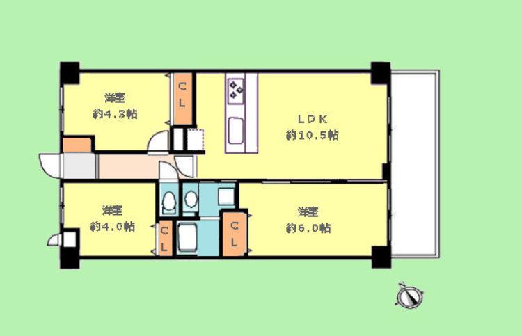 専有面積55.10平米 バルコニー面積6.38平米