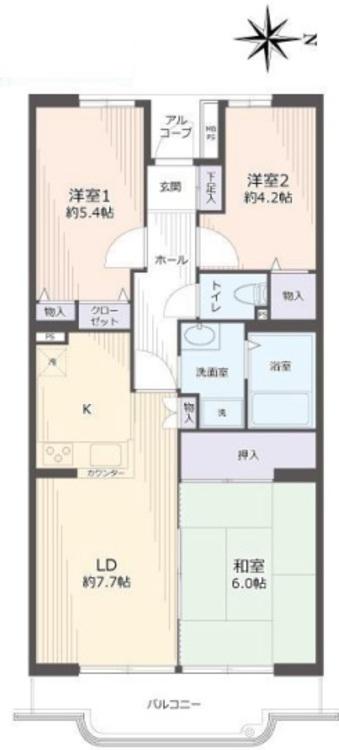 間取り図 3LDK 62.32m2 バルコニー7.03m2 キッチンにゆとりのある間取りです。