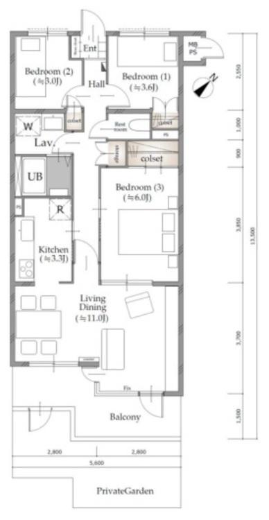 間取り図 3LDK 専有面積64.75m2 バルコニー9.2m2 専有庭12.65m2 戸建気分になれる専有庭付。