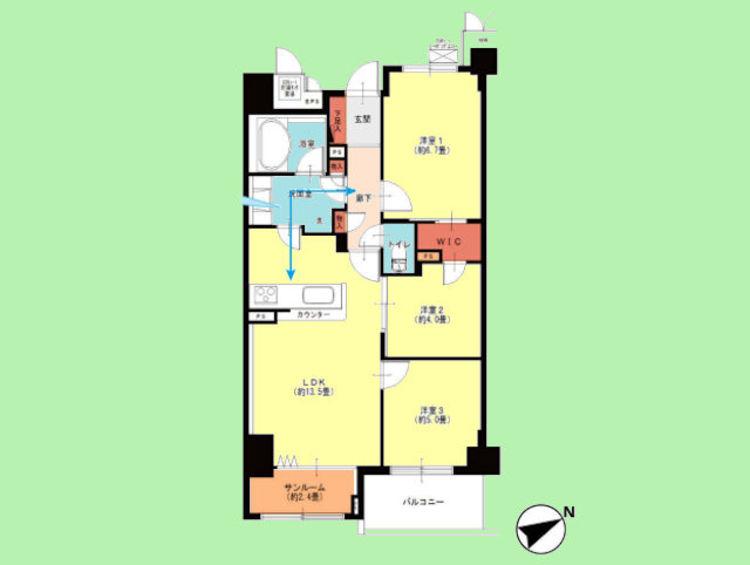 専有面積67.61平米 バルコニー面積5.21平米
