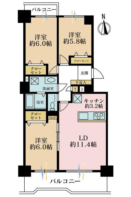 3LDK、価格4380万円、専有面積79.68m2、バルコニー面積10.24m2