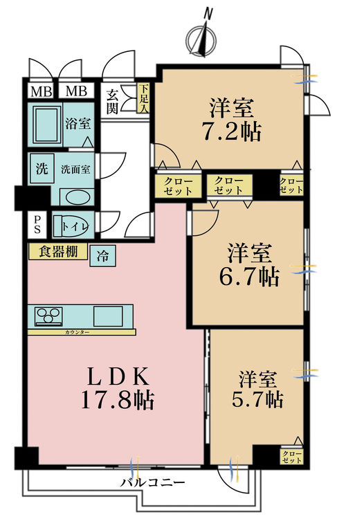 3LDK、価格5180万円、専有面積77.6m2、バルコニー面積7.28m2