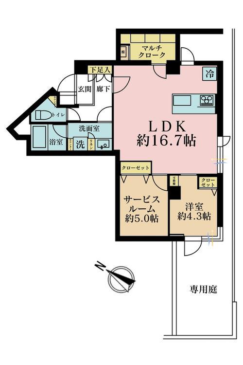 1LDK+S(納戸)、価格6980万円、専有面積60.37m2