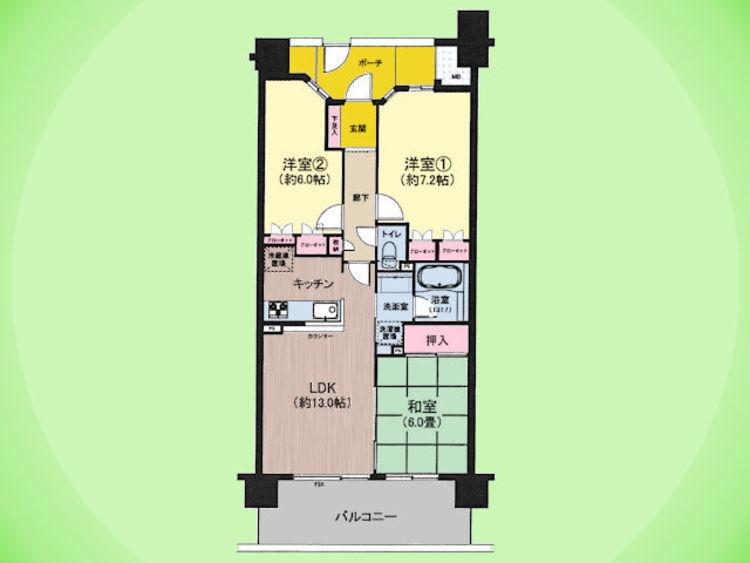 3LDK、専有面積68.40平米、バルコニー面積12.00平米