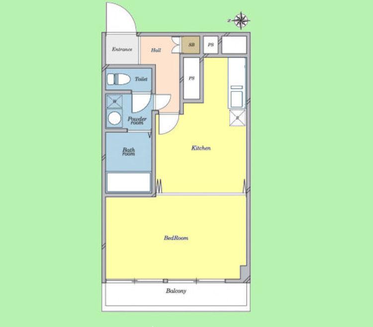 1DK 専有面積39.60平米、バルコニー面積5.40平米