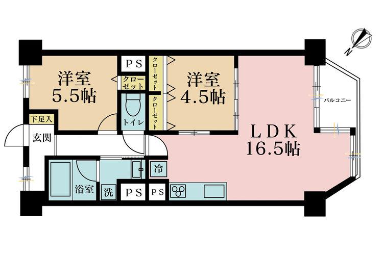 2LDK、価格4480万円、専有面積60.48m2、バルコニー面積5.43m2