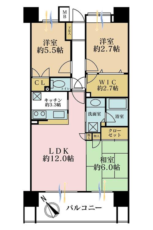 3LDK、価格6480万円、専有面積75.32m2、バルコニー面積14.2m2