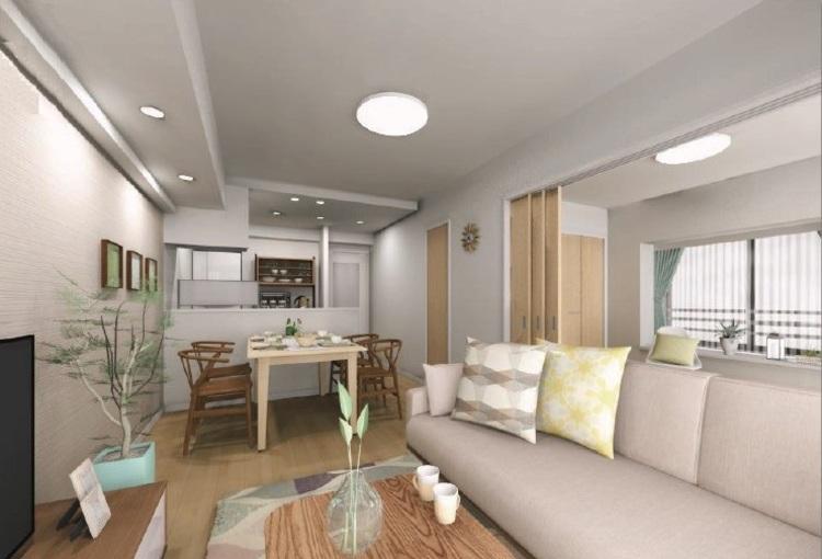 リビング・ダイニングは引き戸を開放した洋室3と一体化して、広々とした大空間として利用することも可能