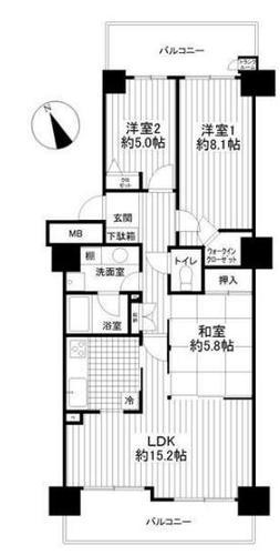 ◇ グランガーデン東戸塚 ◇ ペット 2面バルコニーの画像