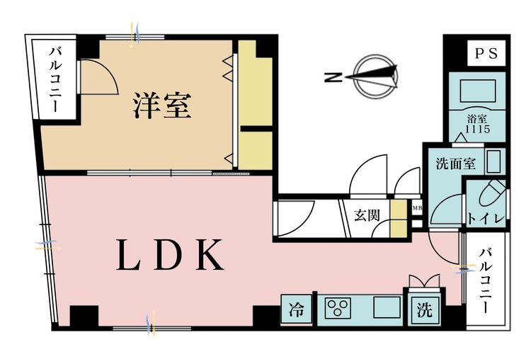 1LDK、価格3490万円、専有面積48.31m2、バルコニー面積2.04m2