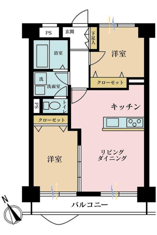 2LDK、価格4800万円、専有面積51.97m2、バルコニー面積7.24m2