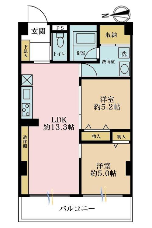 2LDK、価格4580万円、専有面積52.6m2、バルコニー面積7.15m2