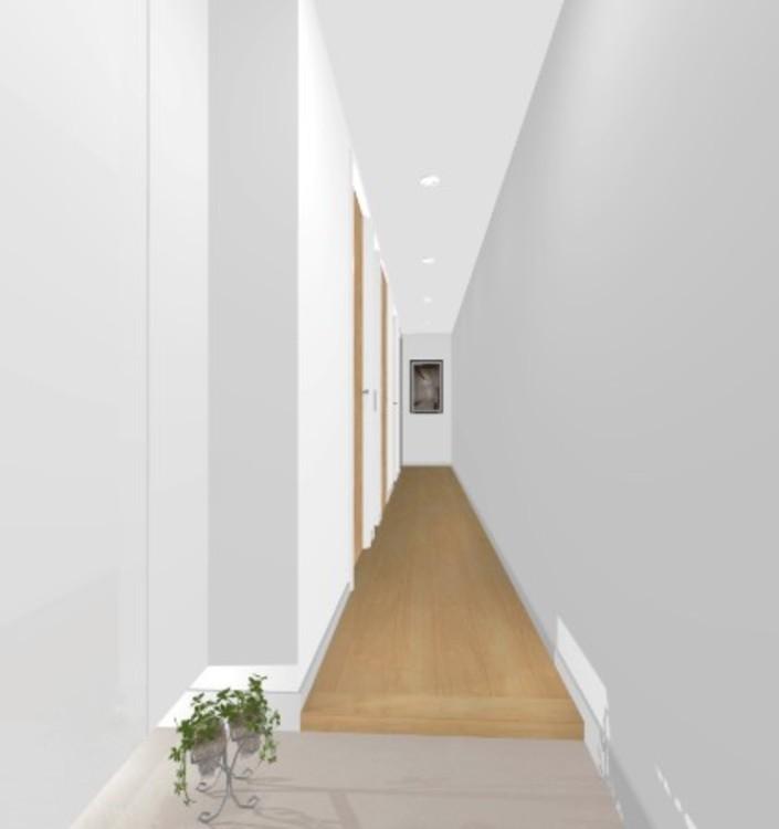 住まいの第一印象を決める玄関スペースには、間接照明とホワイト鏡面の下足入を使用し、高級感と清潔感を演出