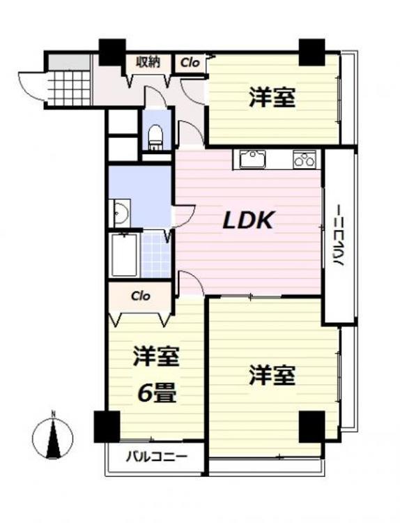 3面バルコニーで、すべてのお部屋にバルコニーがある珍しい間取りです。