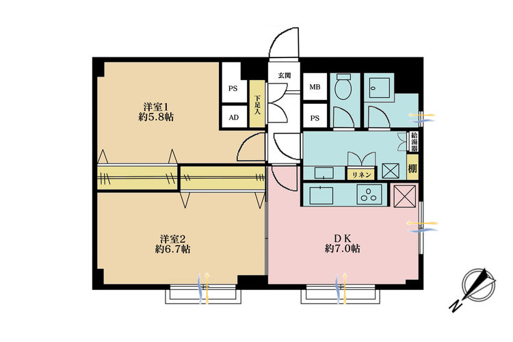 2DK、価格2580万円、専有面積55.05m2、バルコニー面積1.86m2
