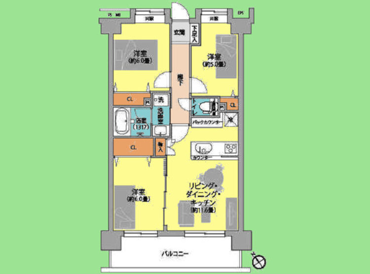 3LDK 専有面積62.00平米、バルコニー面積11.16平米