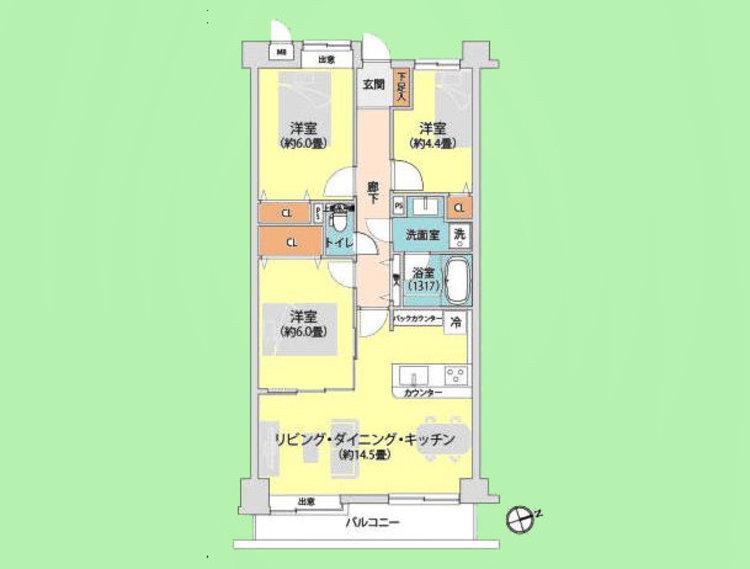 3LDK 専有面積69.57平米、バルコニー面積7.25平米