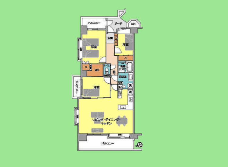 3LDK 専有面積86.28平米 バルコニー面積21.52平米