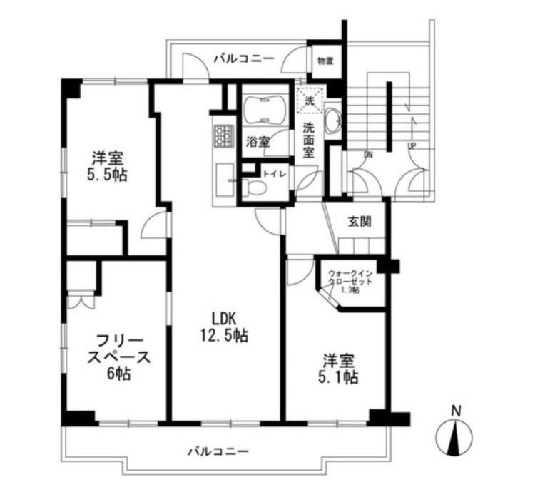 3LDK、価格1380万円、専有面積73.05m2、バルコニー面積13.75m2 南西角部屋で西側にも窓あります。リビングとフリースペースは一続きの空間です。主寝室として使える南側の洋室には、使いやすいWICを設置しました!