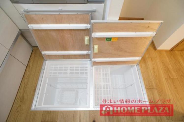 床下収納があり、非常食などの収納に便利です!