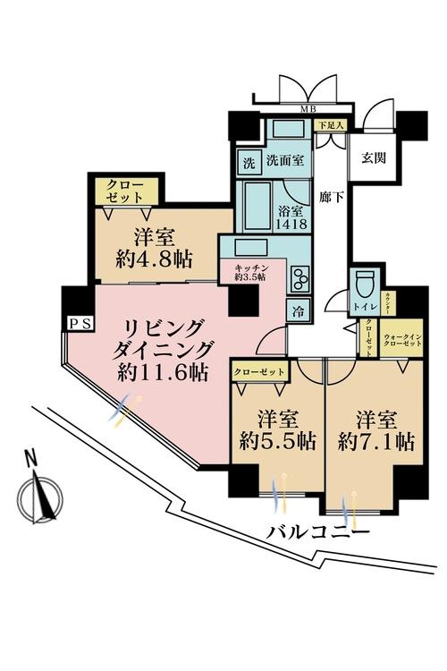 3LDK、価格5590万円、専有面積78.21m2、バルコニー面積15.3m2