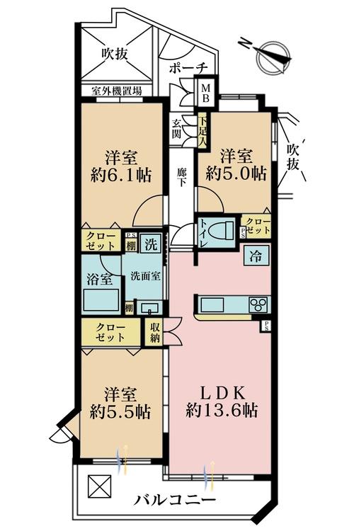 3LDK、価格4790万円、専有面積69.76m2、バルコニー面積9.46m2