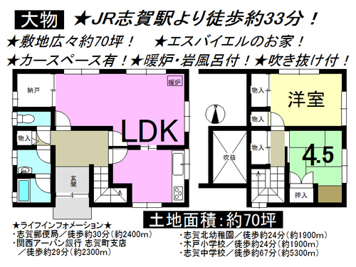 大津市 大物 一戸建て 2LDKの物件画像