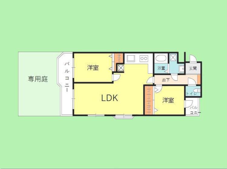 2LDK 専有面積54.79平米 バルコニー面積8.10平米