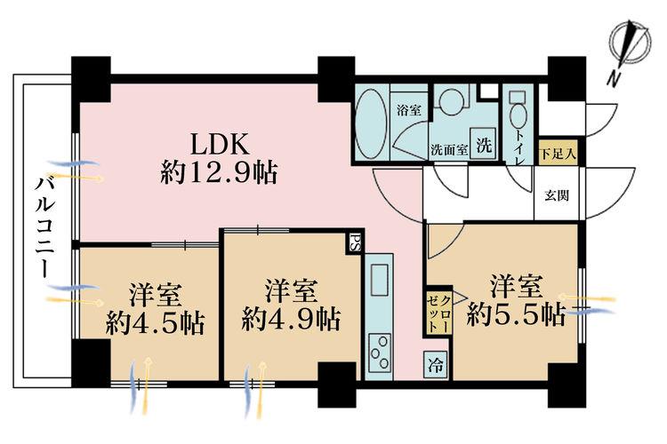 3LDK、価格4499万円、専有面積58.5m2、バルコニー面積7m2