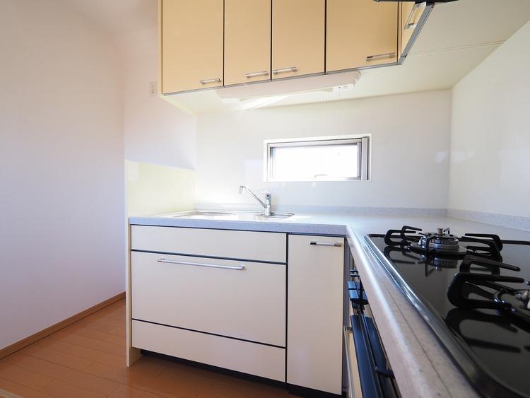 使いやすいL型のシステムキッチンは奥様が楽になる家事の動線が取れてます。