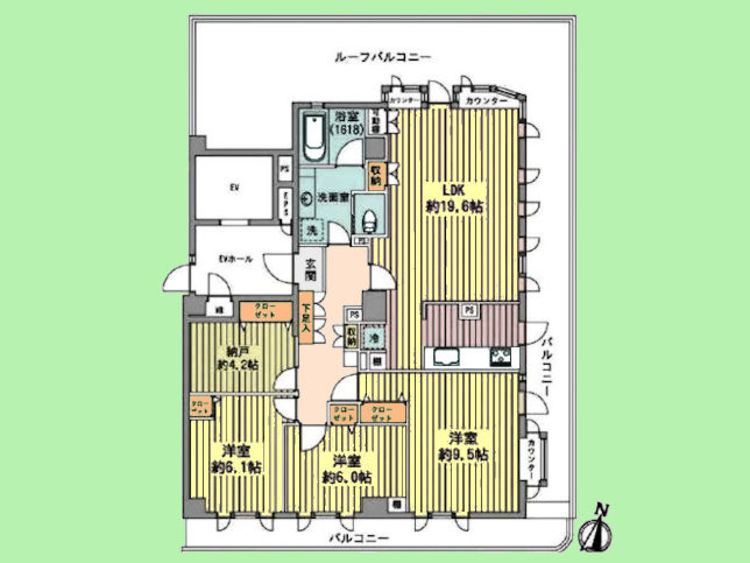 3LDK+納戸 専有面積96.22平米