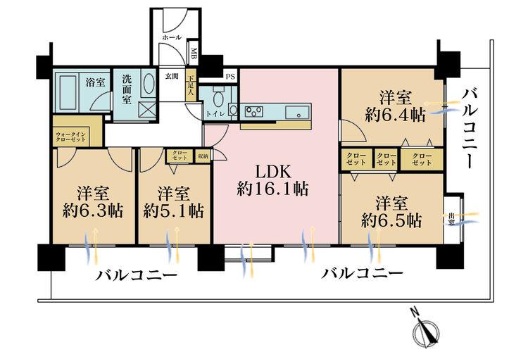 4LDK、価格4380万円、専有面積86.45m2、バルコニー面積36.39m2