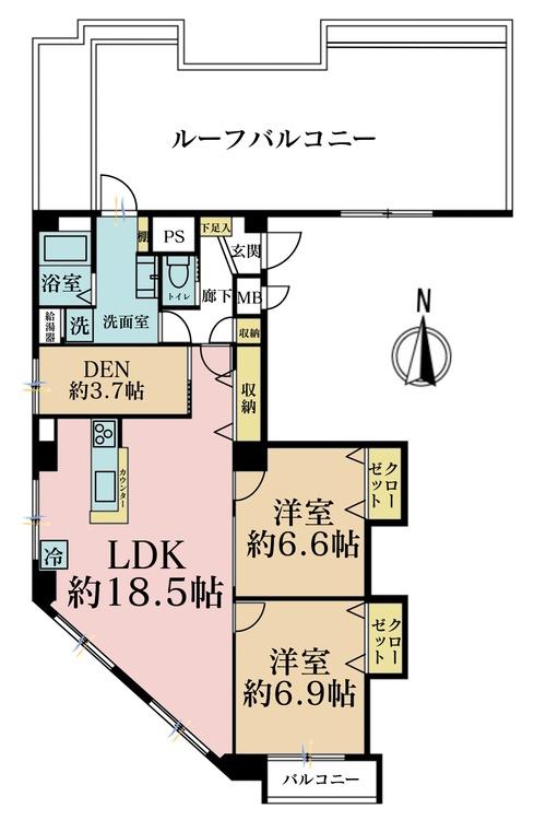 2LDK+S(納戸)、価格4180万円、専有面積85.75m2、バルコニー面積2.34m2