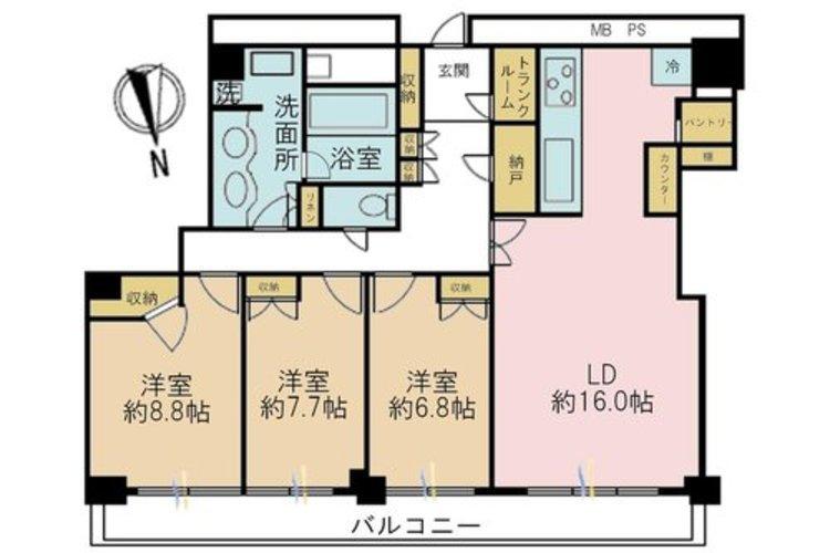3LDK、価格7280万円、専有面積106.67m2、バルコニー面積18.33m2